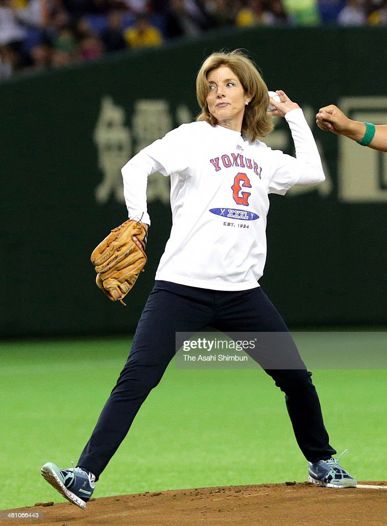 U.S. Ambassador to Japan Caroline Kennedy throws the memorial first pitch prior to the Japanese Professional Baseball Central League opening match between Yomiuri Giants and Hanshin Tigers at Tokyo Dome on March 28, 2014 in Tokyo, Japan.