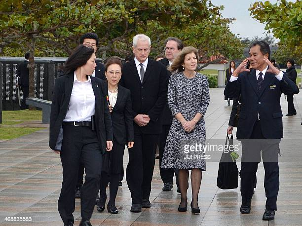 US ambassador to Japan Caroline Kennedy visits the Peace Memorial Park in Itiman Okinawa prefecture on February 12 2014 Kennedy will hold talks with...