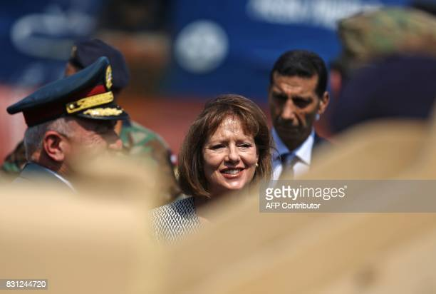 US Ambassador to Lebanon Elizabeth Richard arrives at the port of Beirut as US made Bradley Fighting Vehicles are being delivered on August 14 2017...