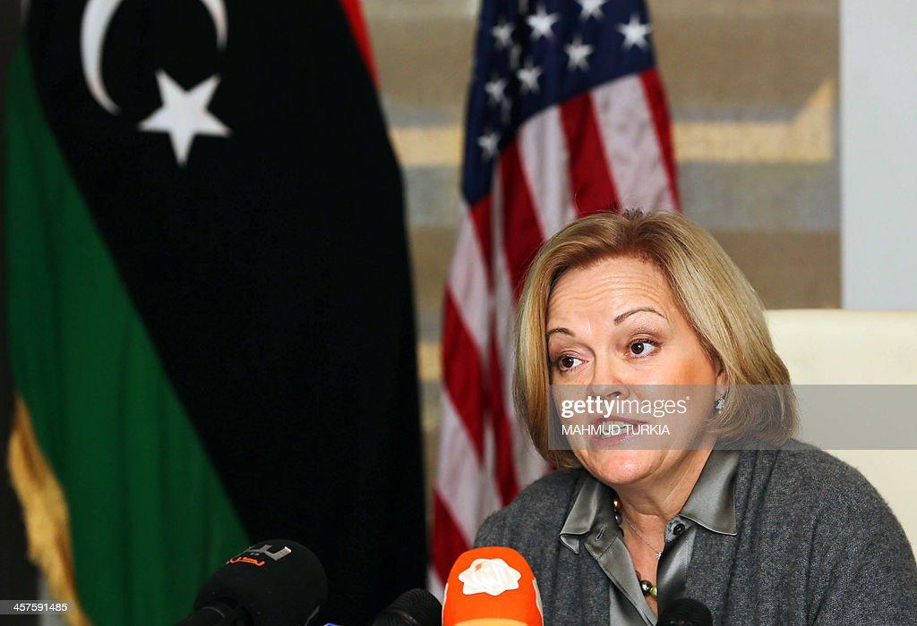 US Ambassador to Libya Deborah Jones speaks after signing a trade and investment framework agreement with Libya's Economy Minister Mustapha Abu Fonas...