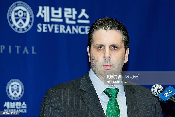 S Ambassador to South Korea Mark Lippert speaks a news conference upon release from the hospital on March 10 2015 in Seoul South Korea Lippert was...