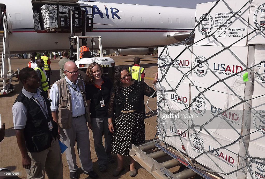 US Ambassador to South Sudan Susan D. Page (R) poses after receiving a shipment of humanitarian relief from the US to assist the victims of the seven-week old conflict in South Sudan, on February 4, 2014 at Juba International Airport. The United Nations issued an urgent appeal Tuesday for 1.27 billion dollars for aid for South Sudan, hit by a seven-week-old conflict that has forced close to a million people from their homes.