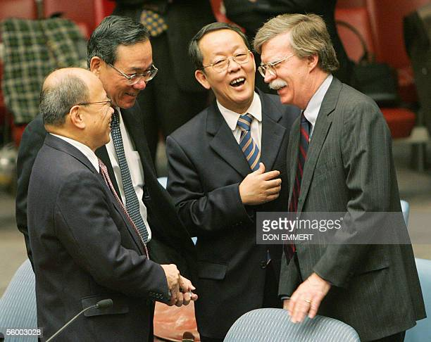 Ambassador to the UN John Bolton China's Ambassador to the UN Wang Guangya Japan's Ambassador to the UN Kenzo Oshima and Philippines Ambassador to...