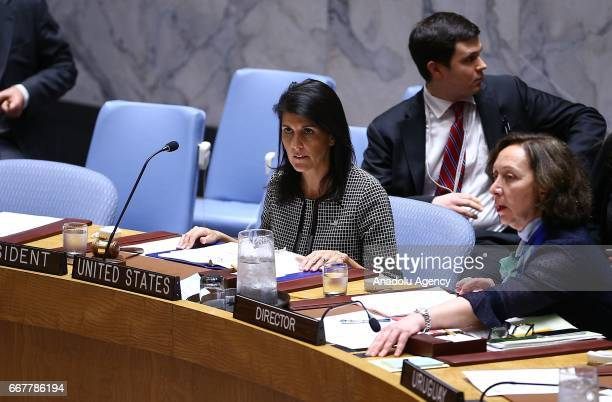 Ambassador to the UN Nikki Haley attends a meeting that gathered to hold a vote on a resolution condemning April 4 chemical attack in Syria's Idlib...