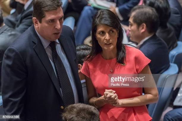S Ambassador to the UN Nikki Haley is seen speaking with Russian Deputy Permanent Representative for Political Affairs Vladimir Safronkov before the...
