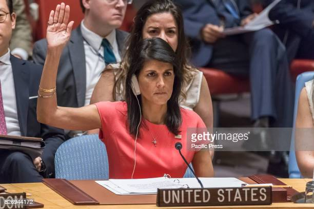 S Ambassador to the UN Nikki Haley is seen voting in favor of new sanctions during the Security Council meeting The United Nations Security Council...