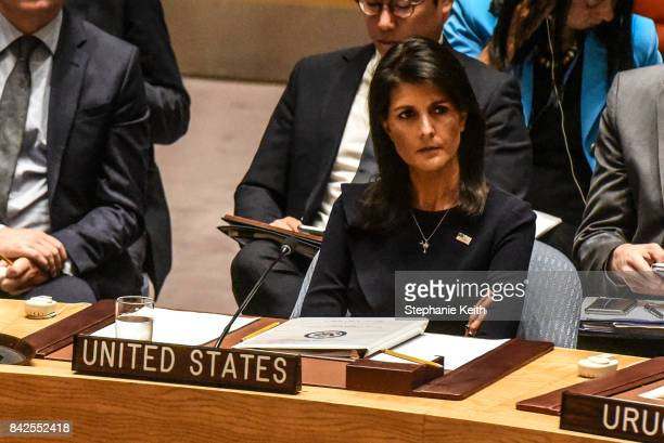 Ambassador to the UN Nikki Haley listens to remarks during a United Nations Security Council meeting on North Korea on September 4 2017 in New York...