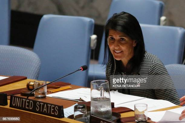 US Ambassador to the UN Nikki Haley speaks as she attends a UN Security Council meeting on the situation in the Middle East on April 12 2017 at UN...