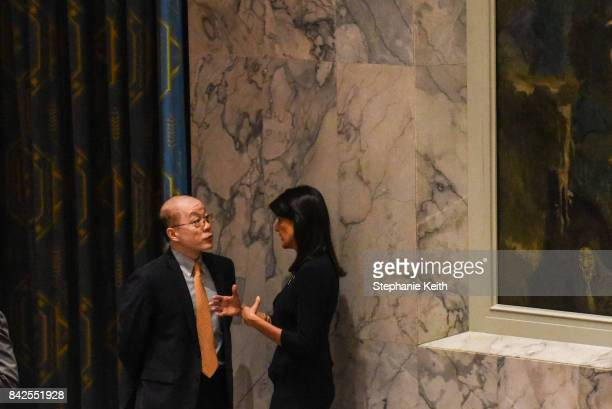 Ambassador to the UN Nikki Haley speaks on the sidelines with Chinese Ambassador Liu Jieyi during a United Nations Security Council meeting on North...