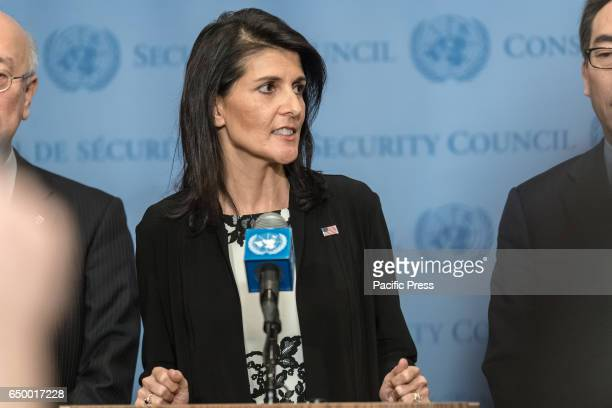 Ambassador to the UN Nikki Haley speaks with the press Following United Nations Security Council consultations regarding the most recent ballistic...