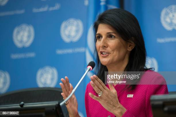 S Ambassador to the United Nation Nikki Haley answers questions during a press briefing at the United Nations headquarters April 3 2017 in New York...