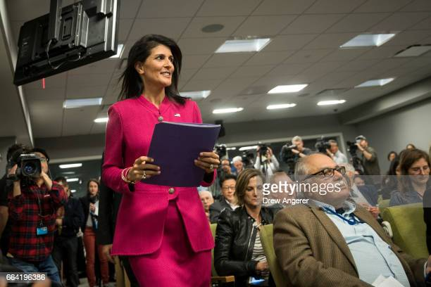 S Ambassador to the United Nation Nikki Haley arrives for press briefing at the United Nations headquarters April 3 2017 in New York City Haley will...