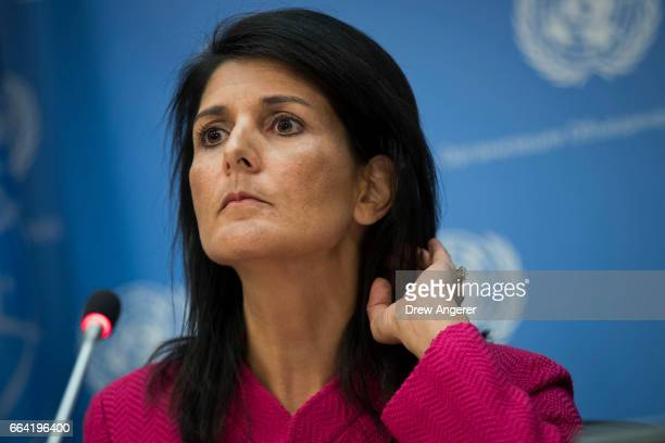 S Ambassador to the United Nation Nikki Haley listens to a question during a press briefing at the United Nations headquarters April 3 2017 in New...