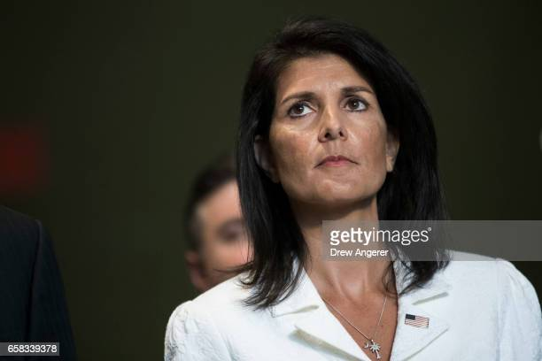 S Ambassador to the United Nation Nikki Haley speaks to reporters at the United Nations headquarters March 27 2017 in New York City The US and more...