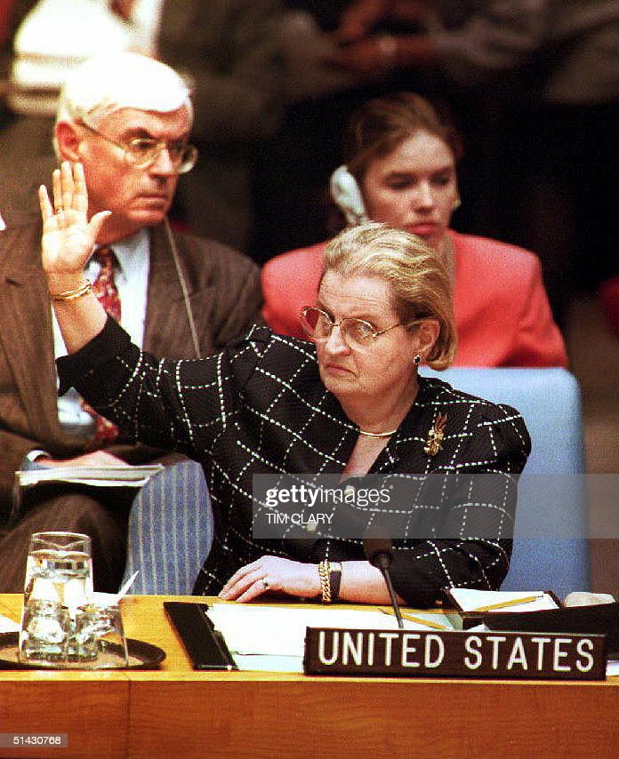 U.S. Ambassador to the United Nations <a gi-track='captionPersonalityLinkClicked' href=/galleries/search?phrase=Madeleine+Albright&family=editorial&specificpeople=211429 ng-click='$event.stopPropagation()'>Madeleine Albright</a> raises her hand during a unanimous U.N. Security Council vote 06 May, 1993 to declare Sarajevo and four Moslem towns safe zones following the refusal of a Bosnian Serb assembly to accept a peace plan ending a year of war in Bosnia-Herzegovina.