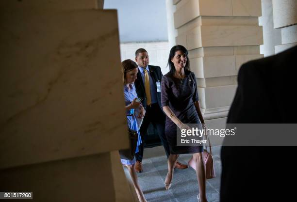 S Ambassador to the United Nations Nikki Haley arrives at the US Capitol June 26 2017 in Washington DC
