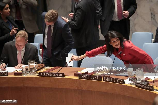 S Ambassador to the United Nations Nikki Haley arrives for a meeting of the United Nations Security Council concerning the situation in Syria at UN...