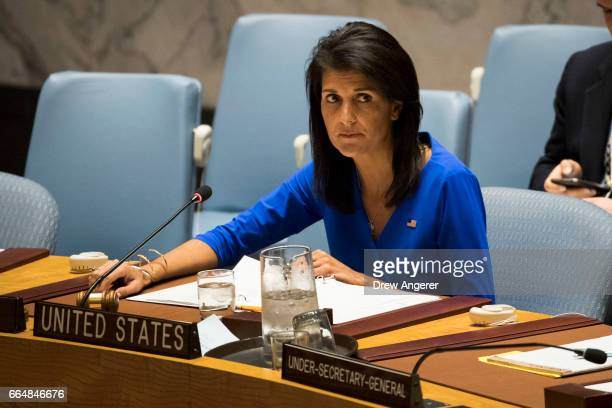 S Ambassador to the United Nations Nikki Haley chairs a meeting of the United Nations Security Council at UN headquarters April 5 2017 in New York...