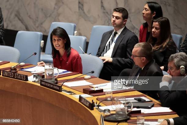 S Ambassador to the United Nations Nikki Haley delivers remarks during a meeting of the United Nations Security Council concerning the situation in...