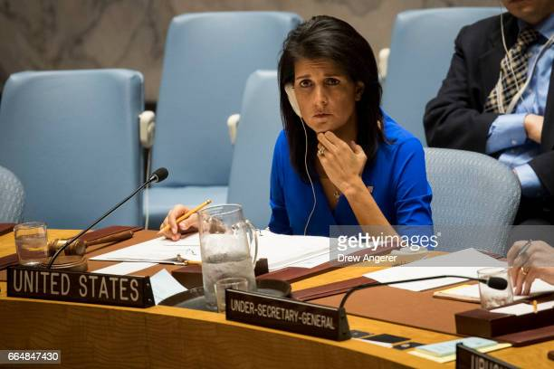 S Ambassador to the United Nations Nikki Haley listens during a meeting of the United Nations Security Council at UN headquarters April 5 2017 in New...