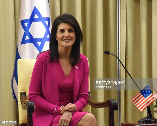US ambassador to the United Nations Nikki Haley meets with Israeli President Reuven Rivlin in his official residence in Jerusalem on June 7 2017 /...