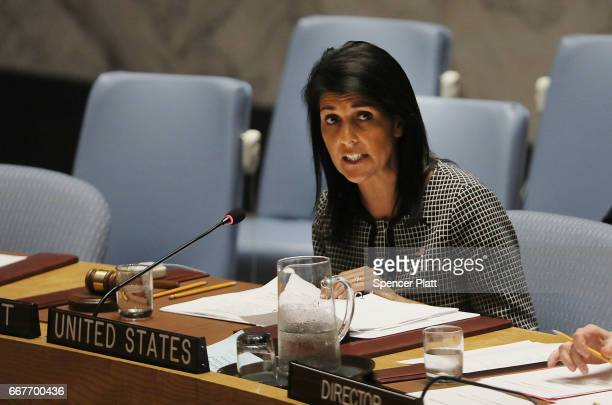 S Ambassador to the United Nations Nikki Haley speaks at a United Nations Security Council meeting on the situation in the Middle East where the...