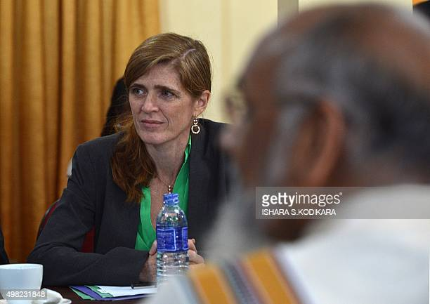 US Ambassador to the United Nations Samantha Power meets with Sri Lankan Chief Minister of the northern province C V Vigneswaran in Jaffna some 400...