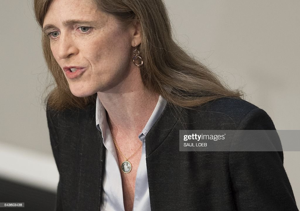 US Ambassador to the United Nations Samantha Power speaks about the global refugee crisis at the United States Institute of Peace in Washington, DC, June 29, 2016. / AFP / SAUL