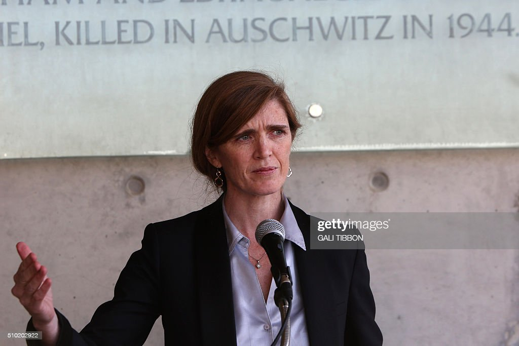 US Ambassador to the United Nations Samantha Power speaks during a visit the Yad Vashem Holocaust Memorial museum in Jerusalem commemorating the six million Jews killed by the German Nazis and their collaborators during World War II, on February 14, 2016. / AFP / Gali Tibbon