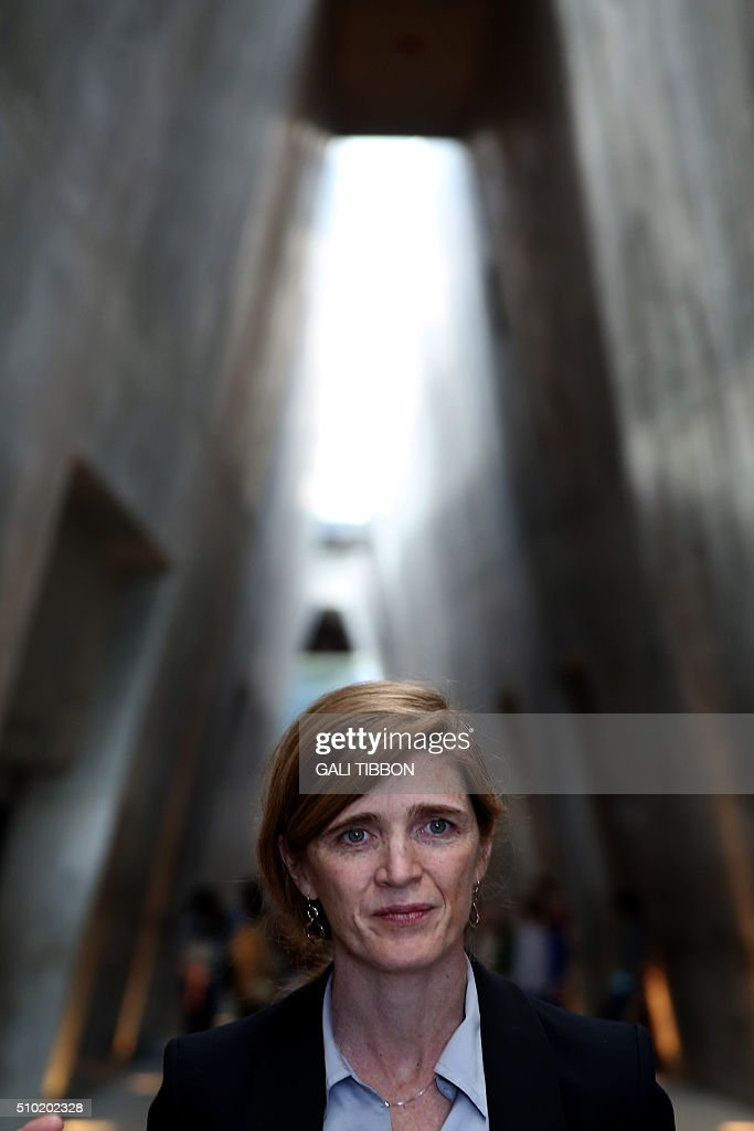 US Ambassador to the United Nations Samantha Power visits the Yad Vashem Holocaust Memorial museum in Jerusalem commemorating the six million Jews killed by the German Nazis and their collaborators during World War II, on February 14, 2016. / AFP / Gali Tibbon