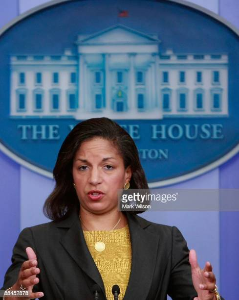 S Ambassador to the United Nations Susan E Rice speaks during a briefing at the White House June 12 2009 in Washington DC Ambassador Rice said that...