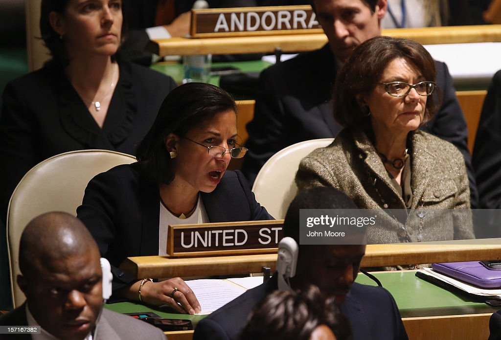 U.S. Ambassador to the United Nations <a gi-track='captionPersonalityLinkClicked' href=/galleries/search?phrase=Susan+Rice&family=editorial&specificpeople=5458775 ng-click='$event.stopPropagation()'>Susan Rice</a> explains the U.S. position opposing a resolution on Palestinians at a meeting of the General Assembly on November 29, 2012 in New York City. The United States, Israel, Canada and a handful of others voted against today's historic resolution granting non-member observer status to Palestinians. The resolution was approved by the 193-member body by a vote of 138-9, with 41 abstentions.