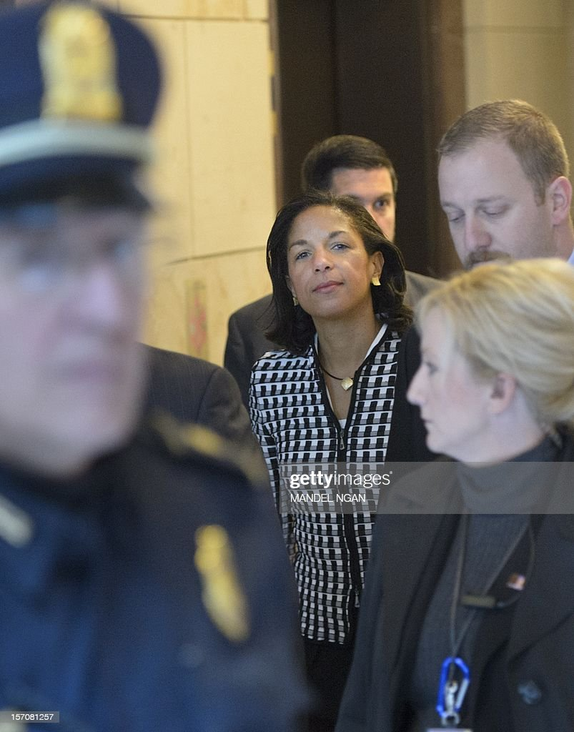 US Ambassador to the United Nations Susan Rice (C) is seen in the US Capitol after meeting with Senator Susan Collins, R-ME, and Senator Bob Corker, R-TN, on November 28, 2012 at the Senate Visitors Center at the US Capitol in Washington, DC. Rice has been under fire from Republicans regarding her comments after the Benghazi attack which left four US citizens dead. AFP PHOTO/Mandel NGAN