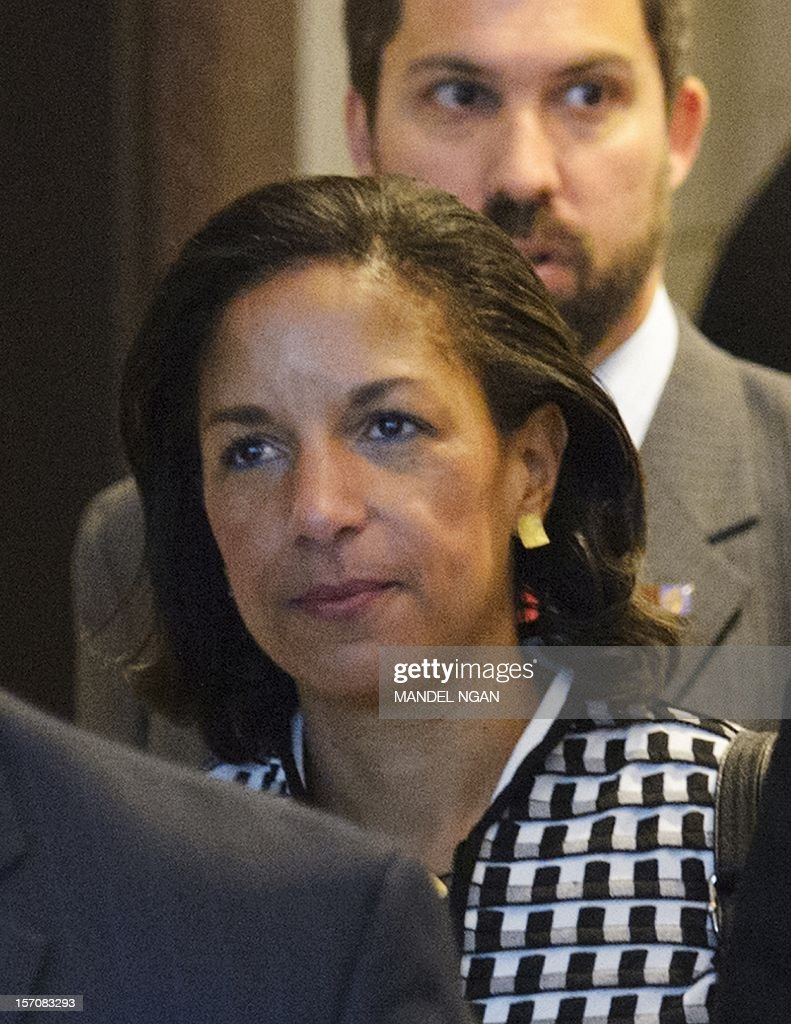 US Ambassador to the United Nations Susan Rice is seen in the US Capitol after meeting with Senator Susan Collins, R-ME, and Senator Bob Corker, R-TN, on November 28, 2012 at the Senate Visitors Center at the US Capitol in Washington, DC. Rice has been under fire from Republicans regarding her comments after the Benghazi attack which left four US citizens dead. AFP PHOTO/Mandel NGAN