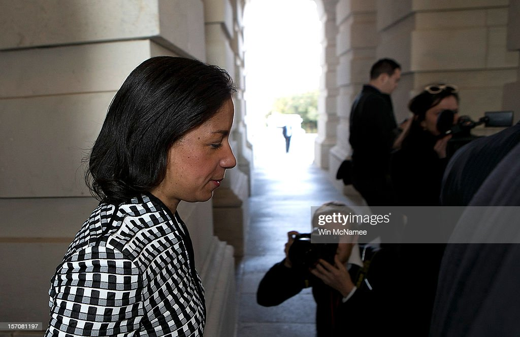 U.S. Ambassador to the United Nations, <a gi-track='captionPersonalityLinkClicked' href=/galleries/search?phrase=Susan+Rice&family=editorial&specificpeople=5458775 ng-click='$event.stopPropagation()'>Susan Rice</a>, leaves the U.S. Capitol after meeting with members of the U.S. Senate November 28, 2012 in Washington, DC. Rice has been meeting with members of Congress over the past two days to explain her position on remarks made regarding the attack on the U.S. consulate in Benghazi, Libya.