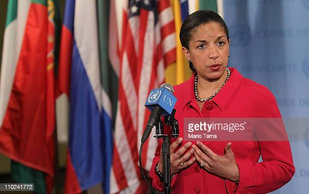 S Ambassador to the United Nations Susan Rice speaks to the media after a UN Security Council meeting on the situation in Libya March 16 2011 in New...
