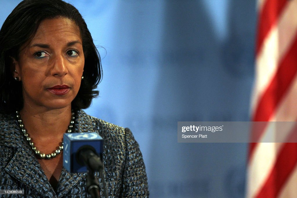 US Ambassador to the United Nations <a gi-track='captionPersonalityLinkClicked' href=/galleries/search?phrase=Susan+Rice&family=editorial&specificpeople=5458775 ng-click='$event.stopPropagation()'>Susan Rice</a> speaks to the media following Security Council consolations over the situation in North Korea April 13, 2012 in New York City. There has been condemnation from United States and countries in the region over North Korea's failed long-range missile launch. The Security Council will also address the ongoing situation in Syria later in the day.