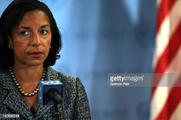 Ambassador to the United Nations Susan Rice speaks to the media following Security Council consolations over the situation in North Korea April 13...