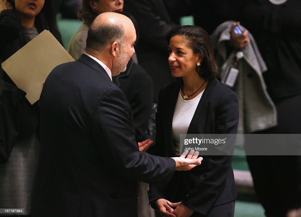 U.S. Ambassador to the United Nations <a gi-track='captionPersonalityLinkClicked' href=/galleries/search?phrase=Susan+Rice&family=editorial&specificpeople=5458775 ng-click='$event.stopPropagation()'>Susan Rice</a> speaks with Israeli U.N. Ambassador Ron Prosor at a meeting of the General Assembly on November 29, 2012 in New York City. The United States, Israel, Canada and a handful of others voted against today's historic resolution granting 'non-member observer'status to the Palestinians. The resolution was approved by the 193-member body by a vote of 138-9, with 41 abstentions.
