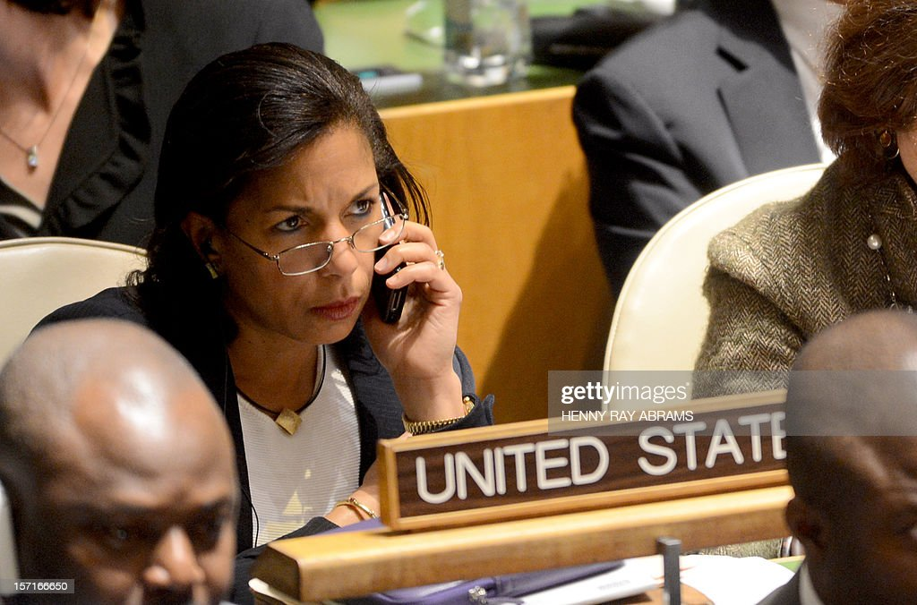 U.S. Ambassador to the United Nations Susan Rice talks on her cell phone prior to the speech of Mahmoud Abbas, President of the Palestinian Authority, and before the General Assembly voted on a resolution to upgrade the status of the Palestinian Authority to a nonmember observer state November 29, 2012 at UN headquarters in New York. AFP PHOTO/Henny Ray Abram
