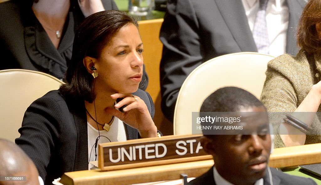 U.S. Ambassador to the United Nations Susan Rice watches as the voting takes place on the resolution to upgrade the status of the Palestinian Authority to a nonmember observer state. The resolution was passed 139 to 9, November 29, 2012 at UN headquarters in New York. AFP PHOTO/Henny Ray Abram