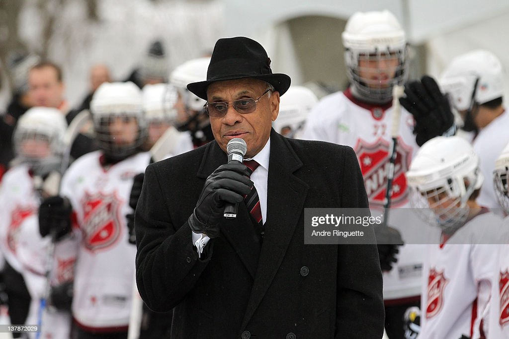 Ambassador Willie O'Ree speaks at an outside rink at the 2012 NHL All-Star Game - H.E.R.O.S. Community Program Launch at Rideau Hall on January 28, 2012 in Ottawa, Ontario, Canada.
