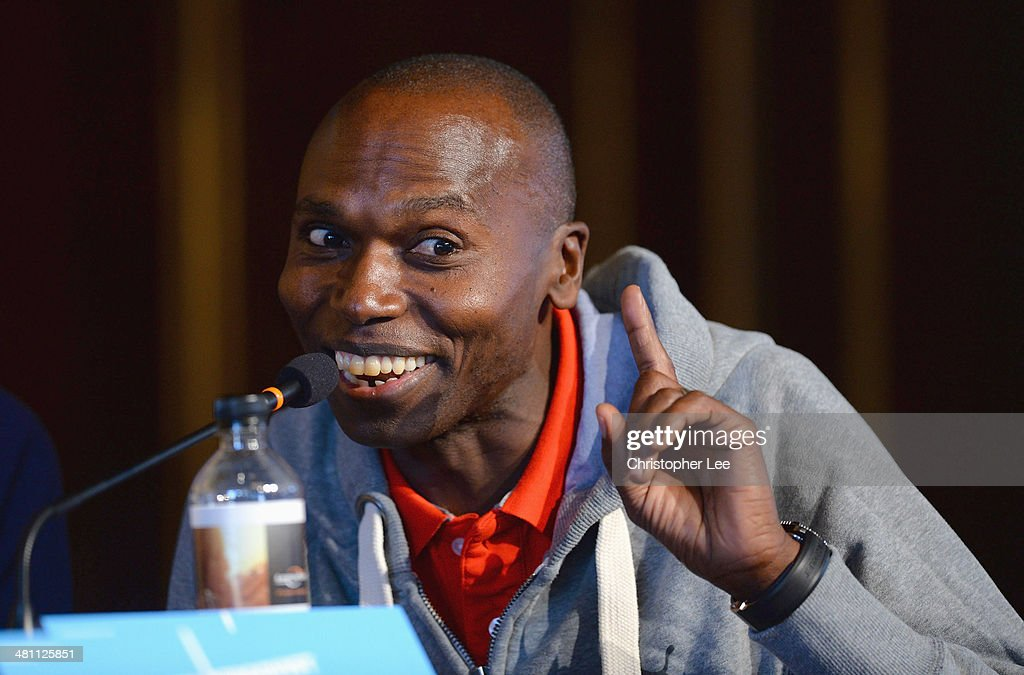 Ambassador <a gi-track='captionPersonalityLinkClicked' href=/galleries/search?phrase=Wilson+Kipketer&family=editorial&specificpeople=162807 ng-click='$event.stopPropagation()'>Wilson Kipketer</a> during IAAF/Al-Bank World Half Marathon Championships Press Conference at the Borsen on March 28, 2014 in Copenhagen, Denmark.