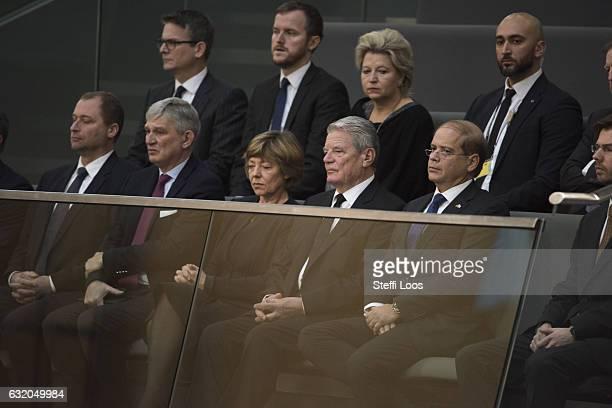 Ambassador Yakov HadasHandelsman German President Joachim Gauck and his partner Daniela Schadt listen during a commemoration at Bundestag on January...
