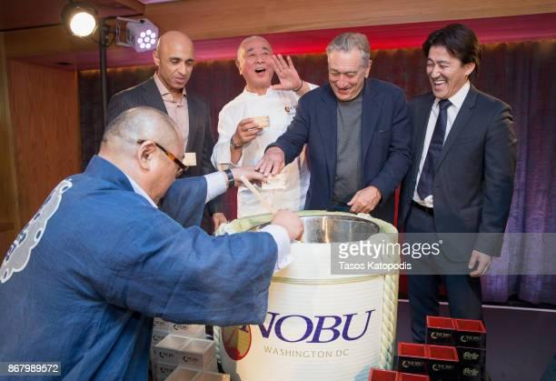 Ambassador Yousef Al Otaiba Nobu Matsuhisa Robert De Niro and Nobu Restaurants COO Hiro Tahara at Nobu Washington DC Sake Ceremony on October 29 2017...