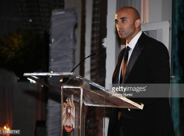 Ambassador Yousef Al Otaiba speaks during the 2011 East West Institute Dinner at the United Arab Emirates Embassy on October 13 2011 in Washington DC