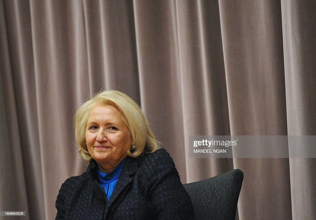 US Ambassador-at-Large for Global Women's Issues Melanne Verveer smiles during an announcement of the recipients of the Women Entrepreneurs in the Americas (WEAmericas) small grants on February 4, 2013 at the Department of State in Washington, DC. Verveer will be stepping down soon from her post. AFP PHOTO/Mandel NGAN