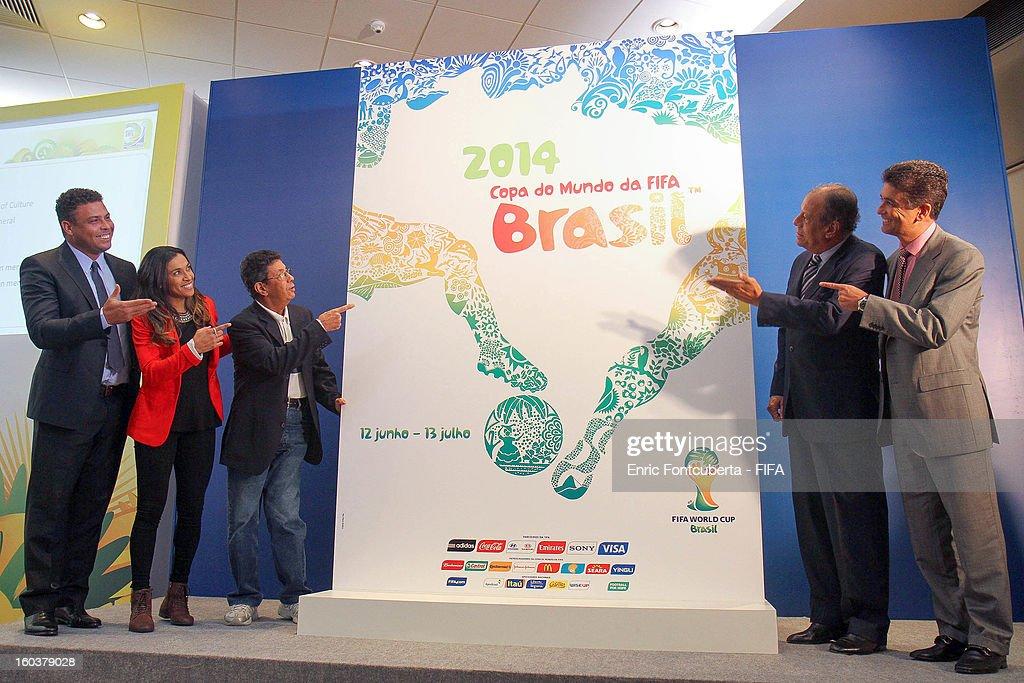 Ambassadors and former World Cup Champions for Brazil Ronaldo Luis Nazario, Jose Roberto Gama de Oliveira 'Bebeto', Amarildo Tavares da Silveira, <a gi-track='captionPersonalityLinkClicked' href=/galleries/search?phrase=Carlos+Alberto+Torres&family=editorial&specificpeople=724460 ng-click='$event.stopPropagation()'>Carlos Alberto Torres</a> and <a gi-track='captionPersonalityLinkClicked' href=/galleries/search?phrase=Marta+-+Soccer+Player&family=editorial&specificpeople=3038337 ng-click='$event.stopPropagation()'>Marta</a> Vieira da Silva attend the LOC Management Board Meeting during 2014 FIFA World Cup Host City Tour on January 30, 2013 in Rio de Janeiro, Brazil.