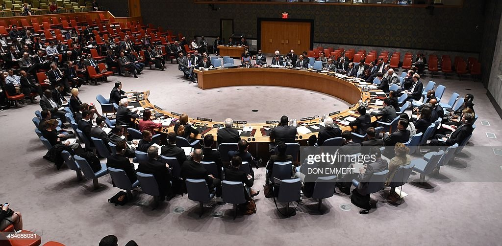 Ambassadors attend a meeting at the United Nations Security Council called by Russia April 13 2014 at the United Nations in New York The UN Security...
