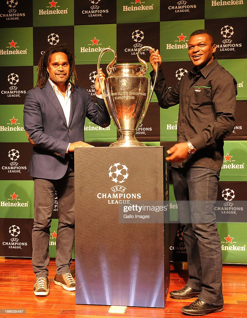 Ambassadors <a gi-track='captionPersonalityLinkClicked' href=/galleries/search?phrase=Christian+Karembeu&family=editorial&specificpeople=228704 ng-click='$event.stopPropagation()'>Christian Karembeu</a> and <a gi-track='captionPersonalityLinkClicked' href=/galleries/search?phrase=Marcel+Desailly&family=editorial&specificpeople=206484 ng-click='$event.stopPropagation()'>Marcel Desailly</a> during the UEFA Champions League Trophy Tour at Fleuve Congo Hotel on April 5, 2013 in Kinshasa, Democratic Republic Of Congo.